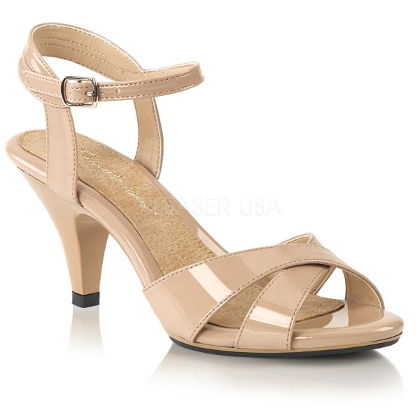 BELLE-315 Klassische Sandalette mit Riemchen nude Lack